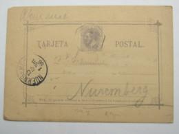 1886 , Tarjeta Postal  A Allemanha - 1889-1931 Reino: Alfonso XIII