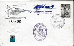 AANT-154 ARGENTINA ANTARCTIC 1969  FLIGHT TC-62 HERCULES C-130E STATION PETREL STATION  PMKS SIGNED COVER - Polar Flights