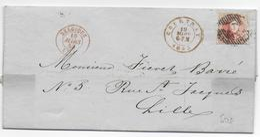 1853 - BELGIQUE - LETTRE De La SOCIETE De CHEMIN DE FER De FLANDRE OCCIDENTALE à COURTRAI => LILLE (NORD) - Belgique