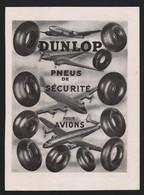 Pub Papier 1949 Pneu Avion Aviation Automobiles Accessoire Voiture DUNLOP - Advertising
