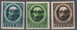 BAVIERA - BAYERN  - 1919 - Serie Completa Dentellata, Nuova Senza Gomma, Yvert 168/170. - Bavière