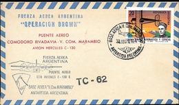 AANT-155 ARGENTINA ANTARCTIC 1970 AIR BRIDGE FLIGHT TC-62 C.RIVADAVIA-MARAMBIO STATION HERCULES C 130E AIR FORCE BROWN O - Polar Flights
