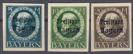 BAVIERA - BAYERN  - Serie Completa Non Dentellata, Nuova Senza Gomma, Yvert 168/170. - Bavière