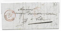 """1855 - BELGIQUE - LETTRE Avec MARQUE BOITE """"M"""" + DATEUR De POPERINGHE => LILLE (NORD) - Marcophilie"""