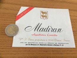 étiquette Vin «MADIRAN - Vve T. Fitère - Cannet (32)» - Madiran