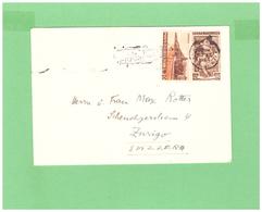 1956 AFFRANCATURA MISTA DUE DIV. FRANCOBOLLI VIAGGIATA X LA SVIZZERA - 1946-.. République