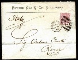 A5805) UK Grossbritannien Brief Birmingham 09.02.80 N. Roma / Italien M. EF Mi.40 - 1840-1901 (Viktoria)