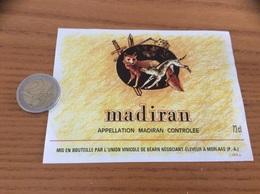 étiquette Vin «MADIRAN - UNION VINICOLE DE BÉARN - MORLAAS (64)» (chien, Renard) - Madiran