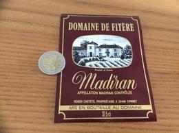 étiquette Vin 1982 «MADIRAN - DOMAINE DE FITÈRE - ROGER CASTETS - Cannet (32)» - Madiran