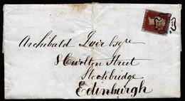A5806) UK Grossbritannien Brief Glasgow 1842 N. Edinburgh M. EF Mi.3Ia Malteserkreuz-Stempel - 1840-1901 (Viktoria)