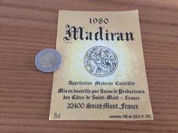 étiquette Vin 1980 «MADIRAN - Union De Producteurs Des Côtes De - SAINT-MONT (32)» - Madiran