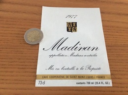 étiquette Vin 1977 «MADIRAN - CAVE COOP - SAINT-MONT (32)» - Madiran