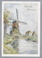 NL.- Gelukkig Nieuwjaar. Kleuren Serie 11. Tekening Van H.E. Roodenburg. Molen. Hooiberg. 1943 - Schone Kunsten
