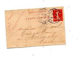 Demi Carte Lettre Cachet 10 C Semeuse Cachet Convoyeur Avranches à Salison - Cartes-lettres