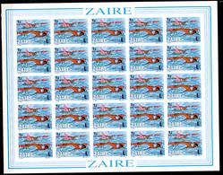 1985   Zaïre, « Olymphilex », Expo Philatélique, 1267 / 1274** En Feuilles De 25 NON DENTELE, Cote 375 € - Zaïre