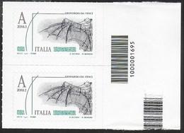 ITALIA - 2015 - LEONARDO DA VINCI - (4,50€) - COPPIA CON CODICE A BARRE - NUOVA **- (SS 3614) - 1946-.. République