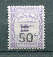 10965  FRANCE  Taxe 51*  50c. S. 10c. Violet Recouvrements Valeurs Impayées Surchargé  1926  B/TB - Taxes