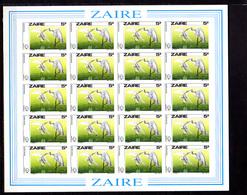 1985   Zaïre, Centenaire D'Audubon, 1282 / 1285** En Feuilles De 20, Cote 480 €  NON DENTELES  IMPERFORATED - Zaïre