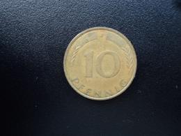 RÉPUBLIQUE FÉDÉRALE ALLEMANDE : 10 PFENNIG   1973 J    KM 108     TTB - 10 Pfennig