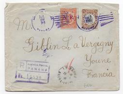 1919 - PANAMA - ENVELOPPE RECOMMANDEE => VERGIGNY (YONNE) - Panama