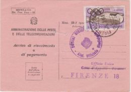 1960 OLIMPIADI £ 25 Isolato Su Avviso Ricevimento - 6. 1946-.. Repubblica