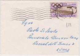 1950 OLIMPICA £.25 Isolato Su Busta - 6. 1946-.. Repubblica