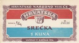Croatia 1 Kuna 1976 Croatian National Council In Exile Lottery , UNC - Croatia