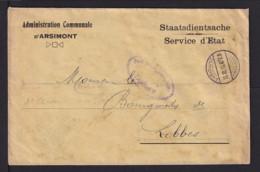 BELGIEN - 1916 Dienstbrief Ab ARSIMONT Nach Lobbes - Zensur TAMINES - Occupation 1914-18