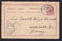 1901 - 10 Pf. ANTWORT-Ganzsache Ab VANBURGH Nach Fürstenwalde - Mit Bahnpoststempel Entwertet - 1851-1902 Règne De Victoria