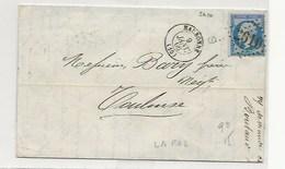 Lettre De NARBONNE Au Verso Ambulant TARASCON à CARCASSONNE - 1849-1876: Période Classique