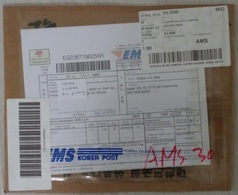 South Korea: Parcel Fragment (cut-out) To Netherlands, 2019, EMS, Via KLM Airlines, Label, Customs Form (traces Of Use) - Korea (Zuid)