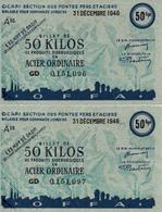 BILLET MATIERE CINQUANTE KILOS ACIER 1946 TICKET RATIONNEMENT ECONOMIE GUERRE - Autres