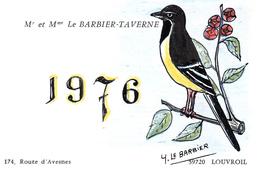 LOUVROIL 59   ( CARTE DE VISITE ILLUSTRE ) MR BARBIER RTE D' AVESNES EN 1976 ILLUSTRATION OISEAU PIE - Cartes De Visite
