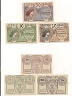 3 Notgeldscheine Hausmening 10, 20 + 50 H - Kilowaar - Bankbiljetten