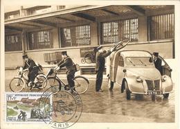 75- PARIS --auto-2cv Fourgonnette Citroën- Poste -facteur -  Vélo-moto -journée Du Timbre -15-3-1958 - Zonder Classificatie