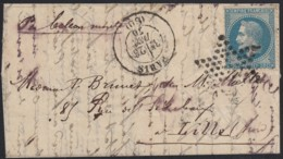 """Ballon Monté """"Le Tourville"""" Oblitéré 23/DEC./1870 Pour Lille - 1863-1870 Napoléon III Lauré"""