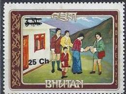 1978 BHOUTAN 522 F**  Histoire De La Poste, Facteur, Surchargé - Bhoutan