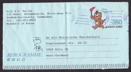 South Korea: Stationery Aerogramme To Germany, 1987, Olympics, Tiger, Stade, Sports Complex (minor Damage: Fold) - Korea (Zuid)