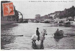 PARIS 75 SEINE 37 BERGES DE LA SEINE BAIGNADE DES CHEVAUX PRES DE L'ÎLE SAINT-LOUIS EDIT. M & CIE PUB CHOCOLAT  JCT&DG - El Sena Y Sus Bordes