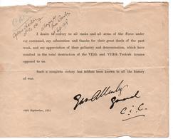 CITATION ORDRE DU JOUR GENERAL BRITANNIQUE CORPS EXPEDITIONNAIRE SYRIE CONTRE ARMEE TURQUE 1918 - 1914-18