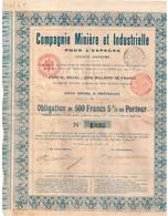 Obligation Ancienne - Compagnie Minière & Industrielle Pour L'Espagne - Titre De 1903 - N° 1823 - Electricité & Gaz