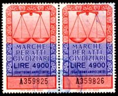 """ATTI GIUDIZIARI - EMISSIONE 1979 - """"IPZS OFF. CV ROMA"""" - £. 4.900 COPPIA USATA - 6. 1946-.. Repubblica"""
