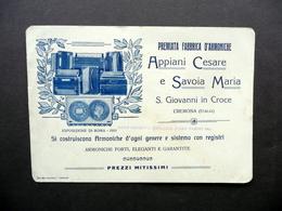 Premiata Fabbrica Armoniche Appiani Cesare Savoia Maria Cremona Cartoncino 1912 - Vecchi Documenti