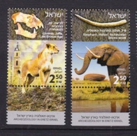 13.- ISRAEL 2018 Archeozoology In Eretz Israel - Elephant And Lioness Jaffa - Ongebruikt (met Tabs)