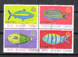 Cocoseiland 2001 Mi Nr 404 - 407: Vissen. Fish Compleet, Blok Van 4 - Cocoseilanden