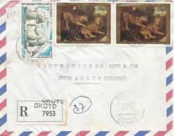 Congo 1976 Okoyo Lion Leopard Cat Painter Breughel Ship Registered Cover - Big Cats (cats Of Prey)