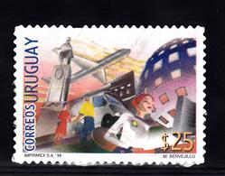 Uruguay 1998 Mi Nr 2396 II, Met Jaartal 1999, Post Office , Airplane, Auto - Uruguay