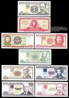 CUBA. Set Of 9 Cuban Banknotes Of 1, 3, 5, 10, 20,50,100 Cuban Pesos.Havana. - Cuba