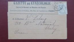 Type Blanc N° 107  Sur Bande Journal Gazette De Gynécologie 1902 Paris Pour Clichy - Storia Postale