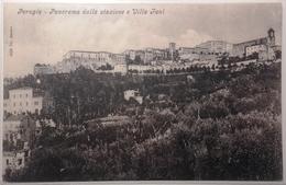 UMBRIA - PERUGIA - PANORAMA DALLA STAZIONE E VILLA FANI Formato Piccolo - Viaggiata 1909 - Condizioni Buone Euro 5,6 - Perugia